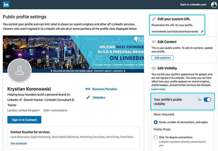 TIP #1: Make your LinkedIn profile visible to the public and pick a custom URL